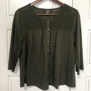 Eddie Bauer Olive Button-up Top Size Large